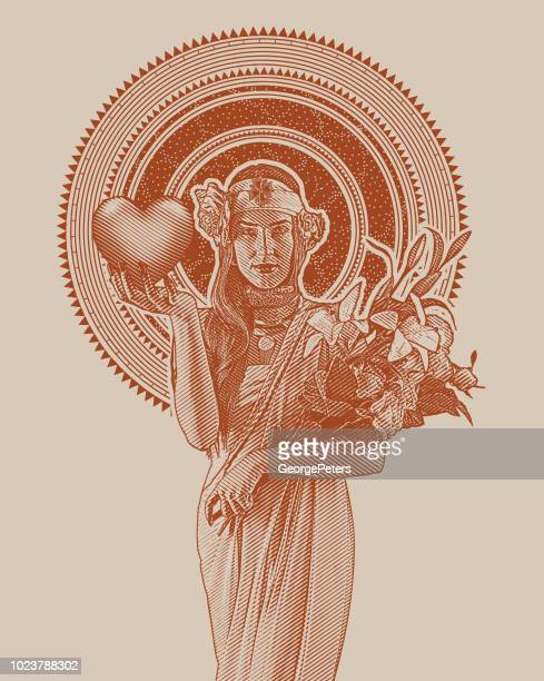 art nouveau woman holding heart and flowers - art nouveau stock illustrations, clip art, cartoons, & icons