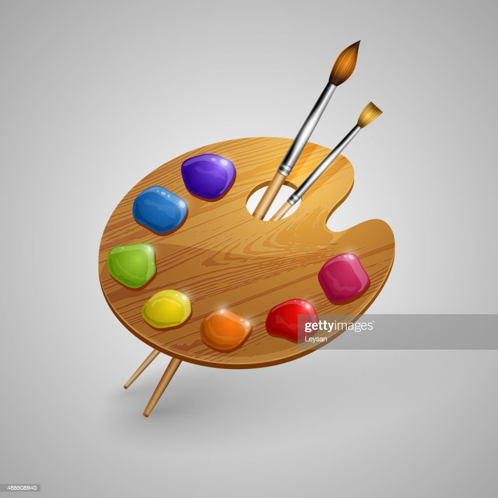 Art palette with brushes