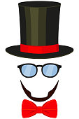 Art poster man father dad day avatar element set tall hat glasses beard, beaver, bow tie.