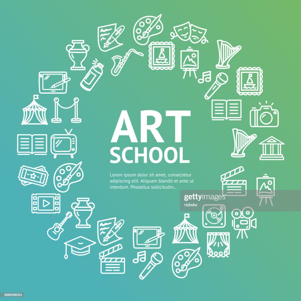 Art School Round Design Template Line Icon Concept. Vector