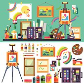 Art studio, tools for creativity and design