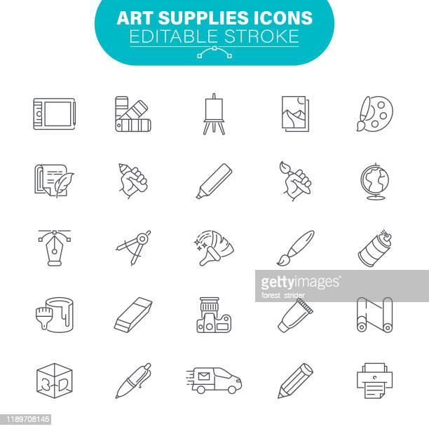 art supplies icons - graphic print stock illustrations