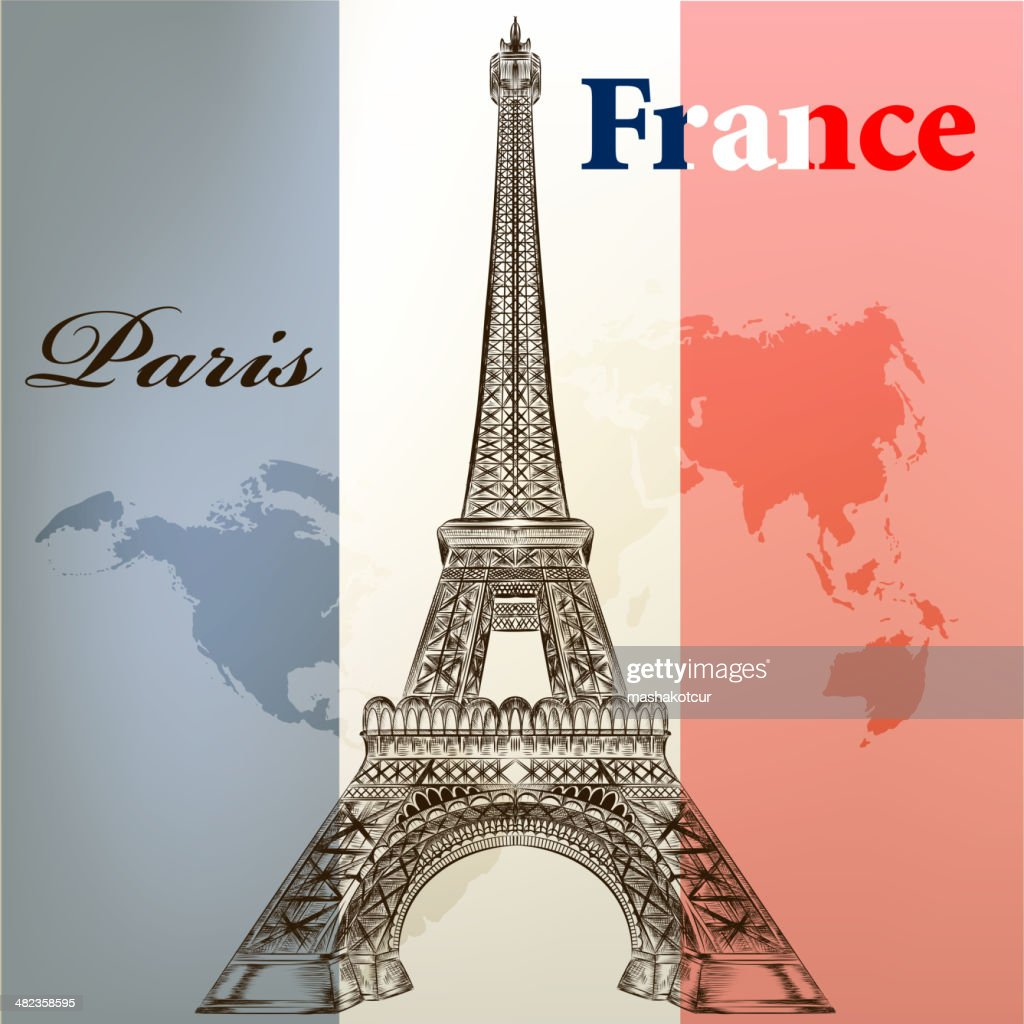 Art vector  conceptual background with Eifel tower  and France flag