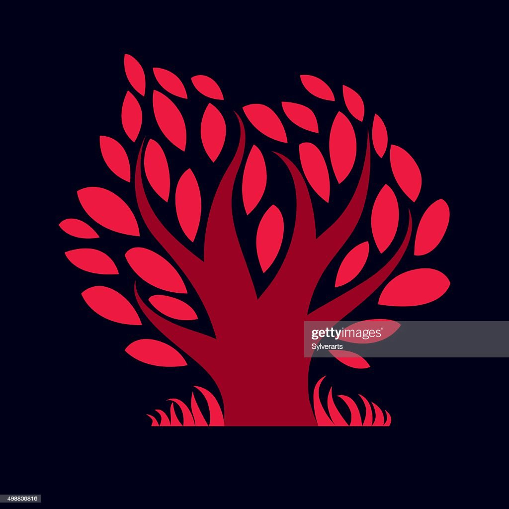 Art vector illustration of tree with red leaves, autumn season