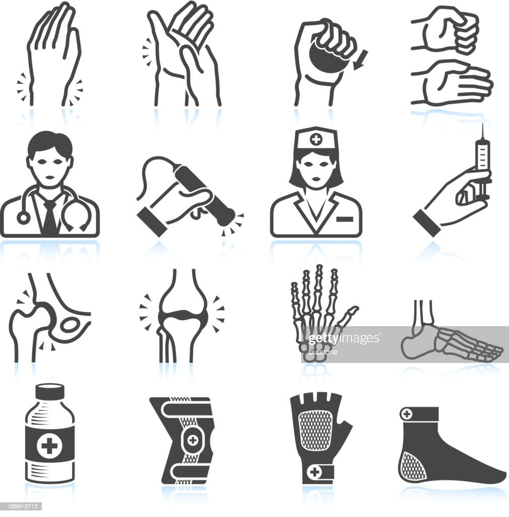 Arthritis Bones and Joints Pain black & white icon set : stock illustration