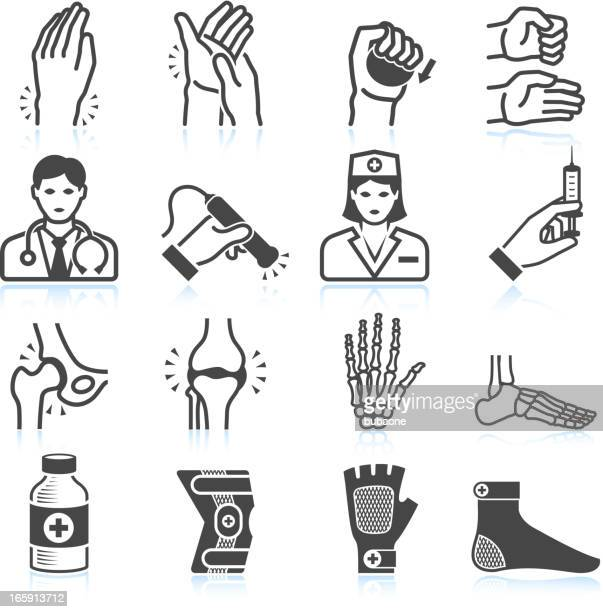 arthritis bones and joints pain black & white icon set - injecting stock illustrations