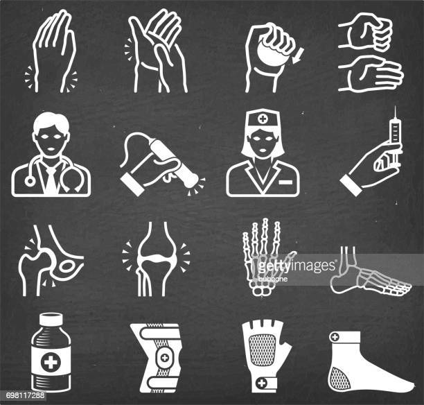 arthritis bones and joints pain physical theraphy icon set - human joint stock illustrations