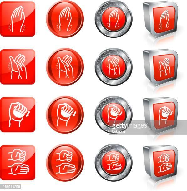 関節炎の痛みやリリーフロイヤリティフリーのベクターボタンのセット - カイロプラクター点のイラスト素材/クリップアート素材/マンガ素材/アイコン素材