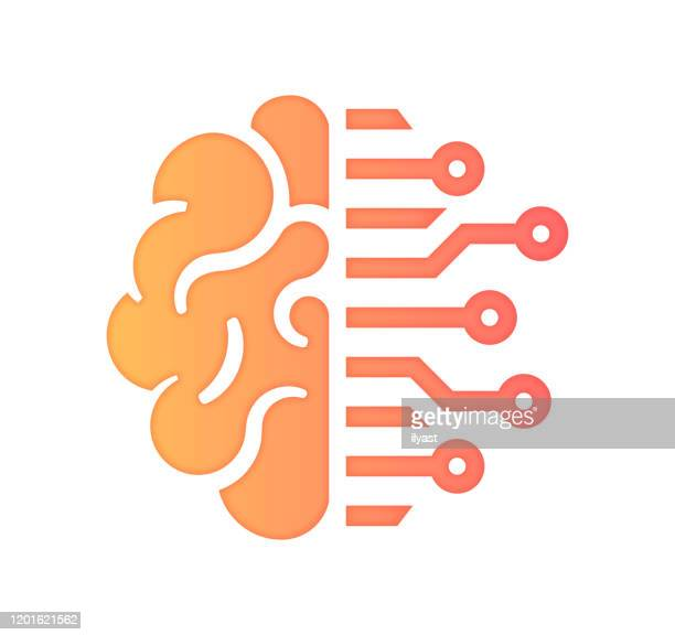 artifical intelligence & business gradient fill color & paper-cut style icon design - brain stock illustrations