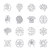 Artificial Intelligence, AI icon set