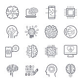 Artificial intelligence AI line icons. Robot intellect and cyborg chip mind signs. Innovation technology manufacturing and programming. Vector illustration. Editable Stroke