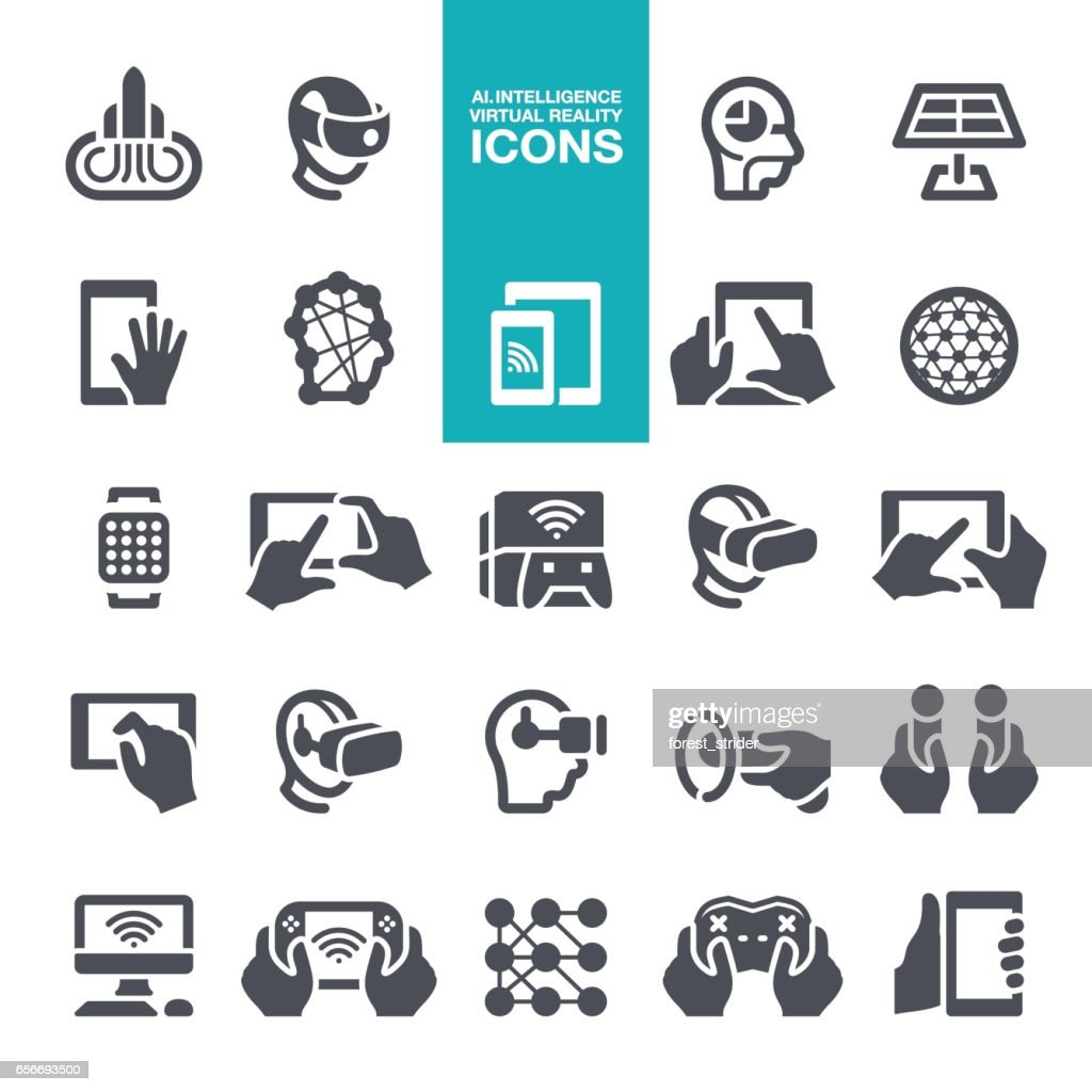 Artificial intelligence and Virtual reality icons