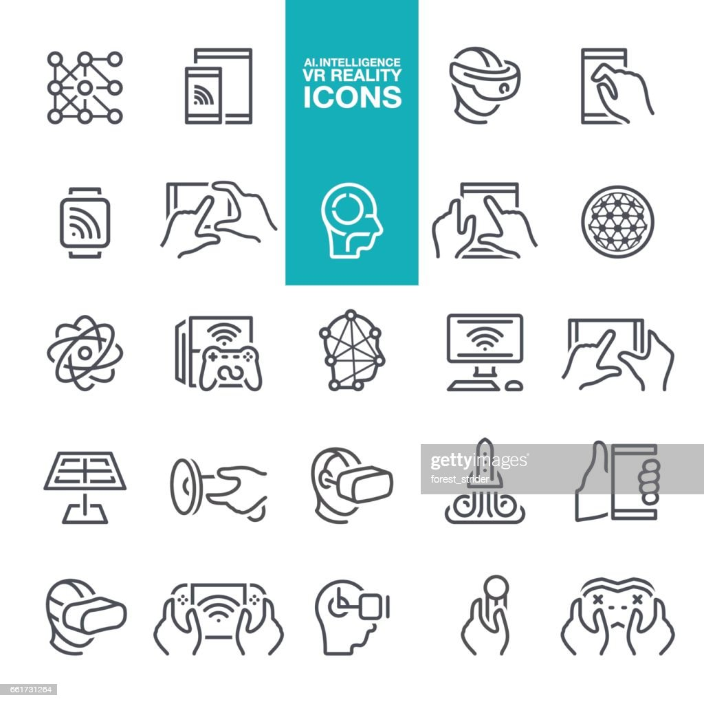 Artificial intelligence and Virtual reality line icons