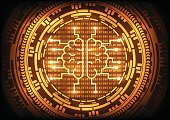 Artificial intelligence brain with ring gold gears on binary code background. Vector illustration technology abstract background.