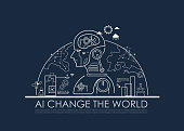 Artificial intelligence (AI) change the world half global concept, machine and deep learning, cloud computing, neural networks and printed circuit board (PCB). Vector line flat design to poster.