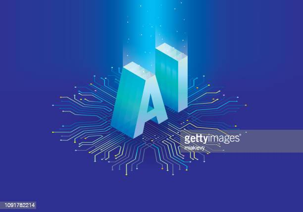 artificial intelligence chip - artificial intelligence stock illustrations