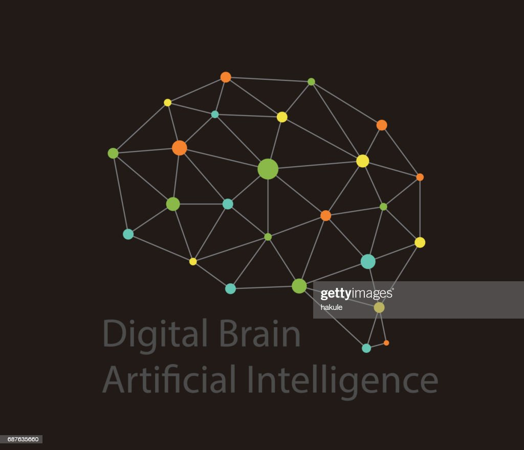 Artificial Intelligence Concept Digital Dot Circuit Board Brain Icon Diagram Triangle High Tech Style Vector