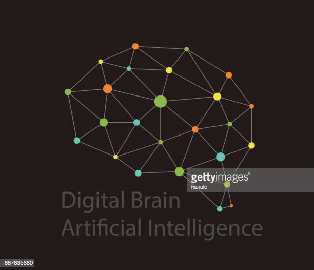 ilustrações, clipart, desenhos animados e ícones de conceito de inteligência artificial. ícone de cérebro de placa de circuito de ponto digital, estilo de alta tecnologia, ilustração vetorial - chip de computador