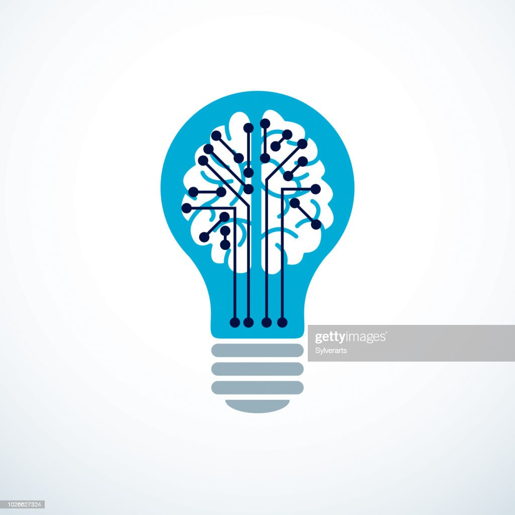 Artificial intelligence concept vector emblem design, digital mind and smartness. Human anatomical brain inside of light bulb with electronics technology elements icon. Smart software, futuristic idea.