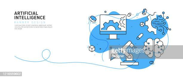 artificial intelligence concept vector illustration - machine learning stock illustrations