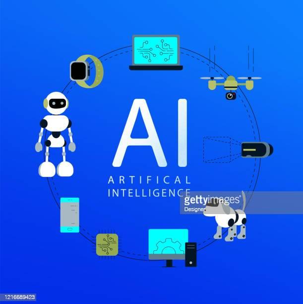 人工知能コンセプトベクターイラストレーション - 工業用ロボット点のイラスト素材/クリップアート素材/マンガ素材/アイコン素材