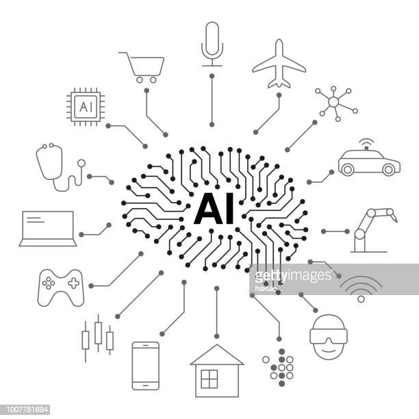 artificial intelligence connect the future, vector illustration - artificial intelligence stock illustrations
