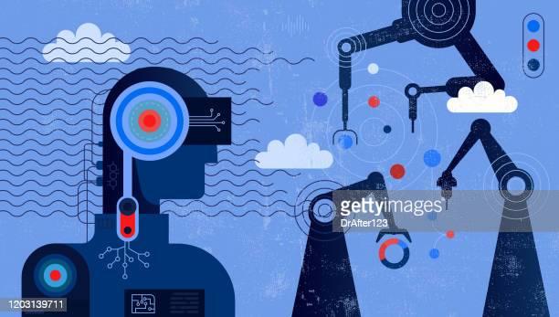 ilustraciones, imágenes clip art, dibujos animados e iconos de stock de inteligencia artificial controlando armas robóticas - robot