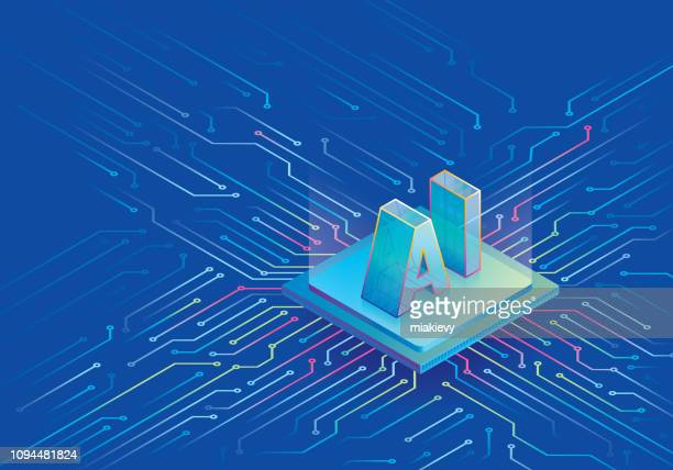 artificial intelligence cpu on circuit board - computer chip stock illustrations