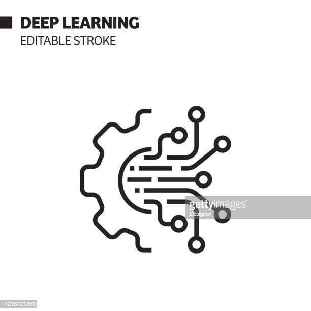 illustrazioni stock, clip art, cartoni animati e icone di tendenza di intelligenza artificiale - icona del tratto modificabile correlata al deep learning. simbolo illustrazione vettoriale - scheda a circuito