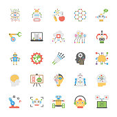Artificial Intelligence Flat Vector Icons Collection