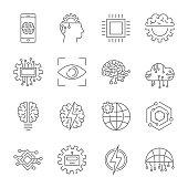 Artificial intelligence icon set. Editable Stroke