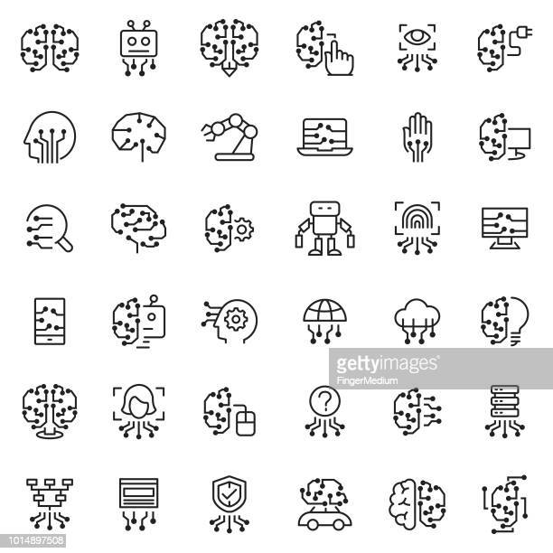 artificial intelligence icon set - machine learning stock illustrations