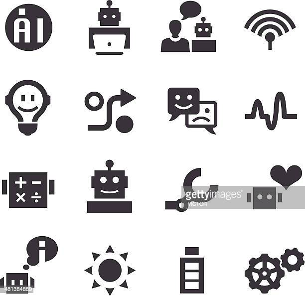 artificial intelligence icons - acme series - cyborg stock illustrations, clip art, cartoons, & icons
