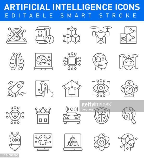 artificial intelligence icons. editable stroke - digital display stock illustrations