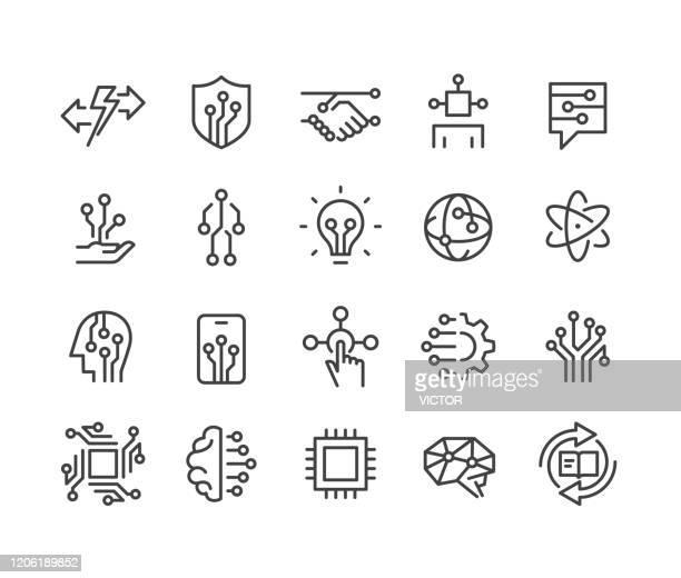 illustrations, cliparts, dessins animés et icônes de ensemble d'icônes d'intelligence artificielle - série de ligne classique - innovation