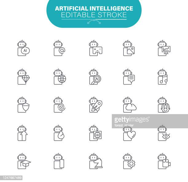 artificial intelligence icons. set contains icon as machine learning, internet of things, big data, network technology, robot, illustration - artificial neural network stock illustrations