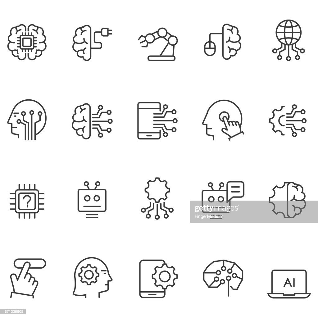 Artificial intelligence icons set : Stock Illustration