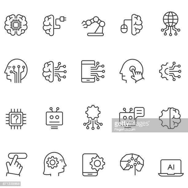 artificial intelligence icons set - technology stock illustrations