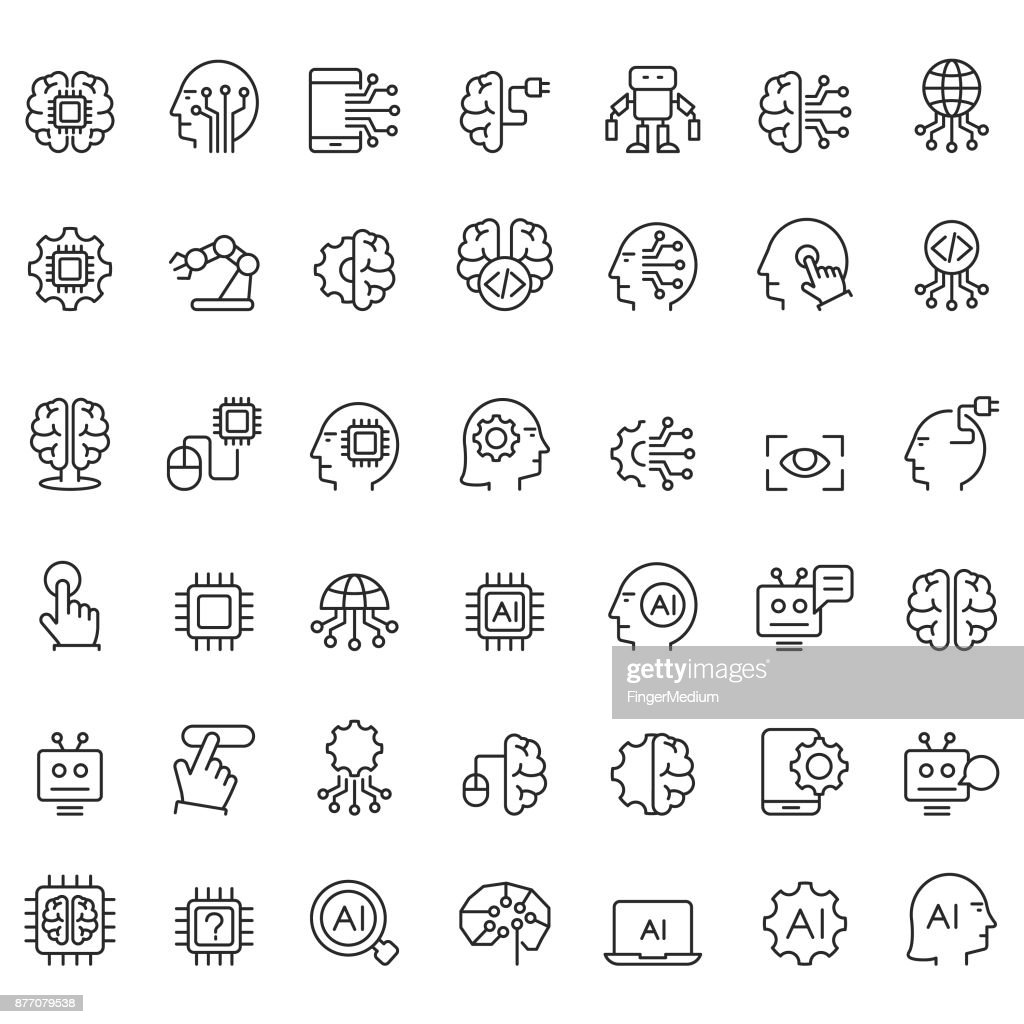 Artificial intelligence icons set : Stock Illustration