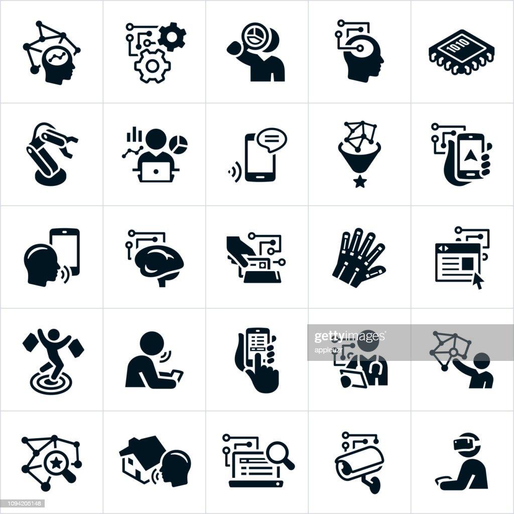 Icone di intelligenza artificiale : Illustrazione stock