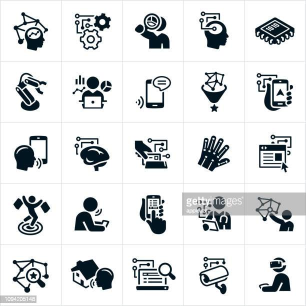 artificial intelligence icons - computer part stock illustrations