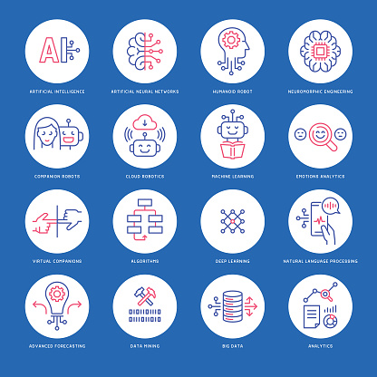 Artificial intelligence icons - gettyimageskorea