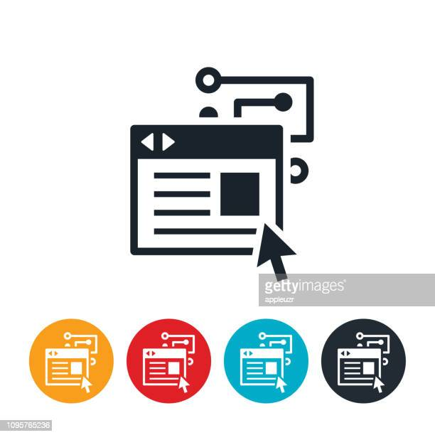 artificial intelligence in online advertising icon - online advertising stock illustrations, clip art, cartoons, & icons
