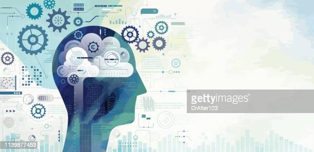 künstliche intelligenz lernen - entscheidung stock-grafiken, -clipart, -cartoons und -symbole