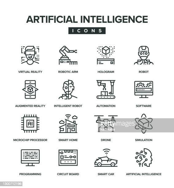 人工知能ラインアイコンセット - 機械アーム点のイラスト素材/クリップアート素材/マンガ素材/アイコン素材