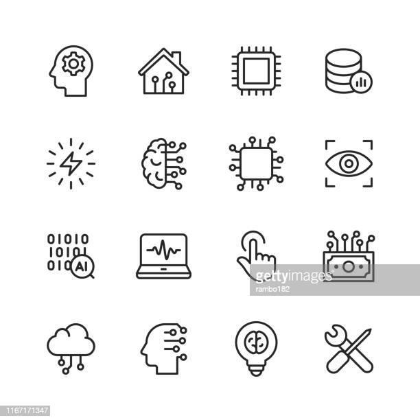 illustrazioni stock, clip art, cartoni animati e icone di tendenza di icone della linea di intelligenza artificiale. tratto modificabile. pixel perfetto. per dispositivi mobili e web. contiene icone come intelligenza artificiale, machine learning, internet of things, big data, tecnologia di rete, robot, finance cloud computi - internet delle cose