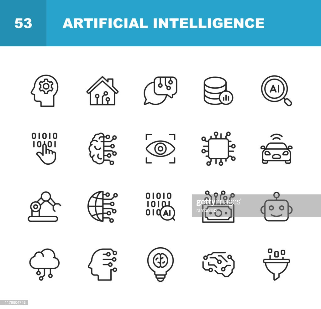 Artificial Intelligence Line Icons. Editable Stroke. Pixel Perfect. For Mobile and Web. Contains such icons as Artificial Intelligence, Machine Learning, Internet of Things, Big Data, Network Technology, Robot, Finance Cloud Computing. : Stock Illustration