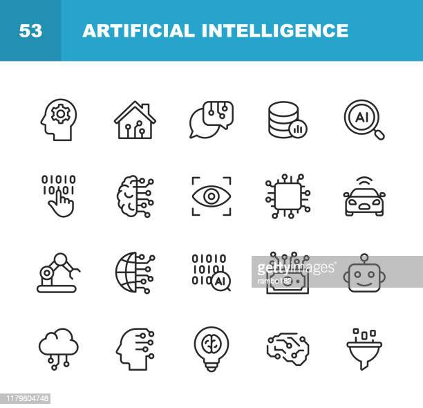 illustrazioni stock, clip art, cartoni animati e icone di tendenza di artificial intelligence line icons. editable stroke. pixel perfect. for mobile and web. contains such icons as artificial intelligence, machine learning, internet of things, big data, network technology, robot, finance cloud computing. - realtà virtuale