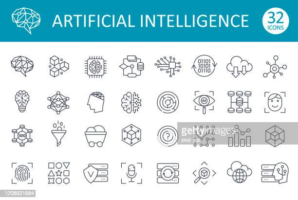artificial intelligence line icons - vector - complexity stock illustrations