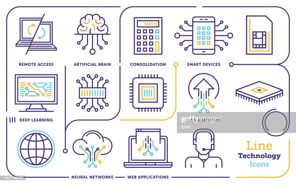 Artificial Intelligence Machine Learning Line Icon Set stock